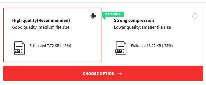 Small PDF memilih Jenis Kompres