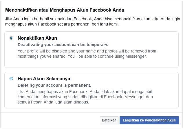 Menghapus Akun FB