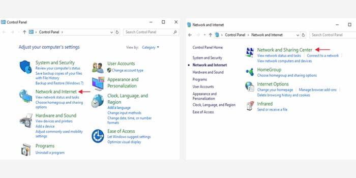 Pilih menu Jaringan dan Internet > Jaringan dan Pusat Berbagi