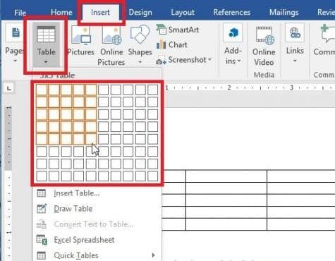 Cara membuat Tabel dengan Insert Table
